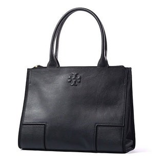 Tory Burch Ella Black Canvas and Leather Tote Bag