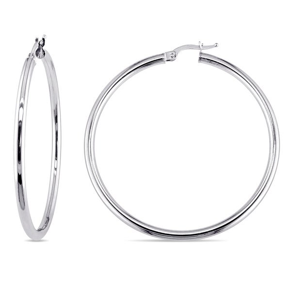 Miadora Polished 10k White Gold Medium Size Round Shape Clip On Hoop Earrings