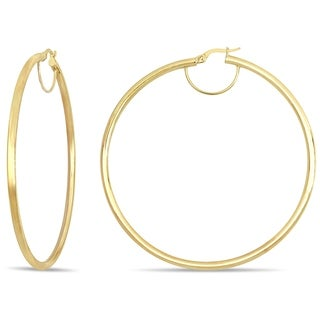 Miadora Polished 10k Yellow Gold Clip-On Hoop Earrings