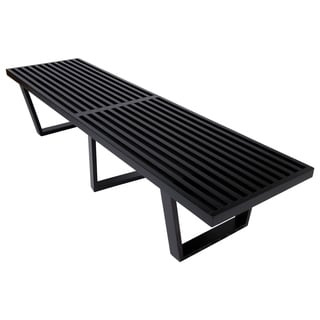 LeisureMod Mid-Century Inwood Platform Slat 6 Foot Bench In Black