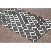 Handmade Leather/Viscose Charcoal Grey Rug (5' x 8')