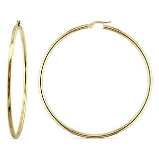 Miadora 10k Yellow Gold Thin Clip-On Round Hoop Earrings