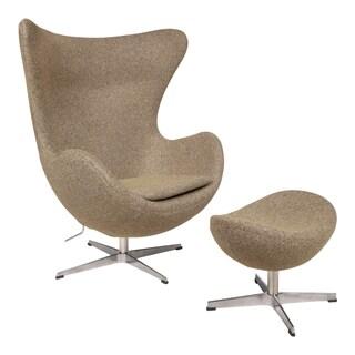 LeisureMod Arne Jacobsen-Style Egg Chair and Ottoman