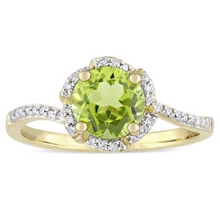 Miadora Signature Collection 14k Yellow Gold Peridot and 1/10ct TDW Diamond Round Halo Bypass Slende