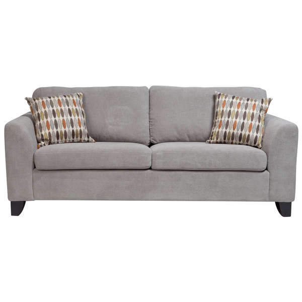 Porter Brighton Light Grey Textured Microfiber Contemporary Sleeper Sofa  With 2 Woven Accent Pillows
