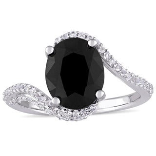 Miadora Sterling Silver Oval-Cut Black Sapphire and White Topaz Bypass Ring