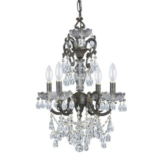 Crystorama Legacy Collection 4-light English Bronze/Swarovski Strass Crystal Mini Chandelier