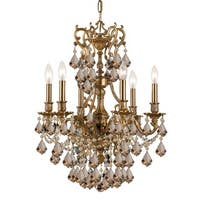Crystorama Yorkshire Collection 6-light Aged Brass/Golden Teak Swarovski Strass Crystal Chandelier