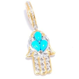 Michael Valitutti Palladium Silver Sleeping Beauty Turquoise Hamsa Drop Charm