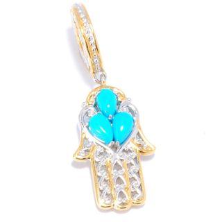 Michael Valitutti Palladium Silver Sleeping Beauty Turquoise Hamsa Drop Charm