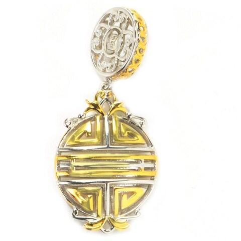 Michael Valitutti Palladium Silver Two-tone Chinese Longevity Symbol Drop Charm