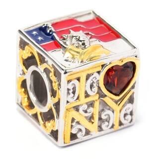 "Michael Valitutti Palladium Silver Heart Shaped Garnet ""I Heart NY"" Slide-on Charm|https://ak1.ostkcdn.com/images/products/14426963/P20993552.jpg?impolicy=medium"