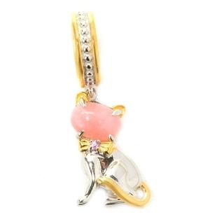 Michael Valitutti Palladium Silver Pink Agate & Pink Sapphire Sculpted Kitten Drop Charm