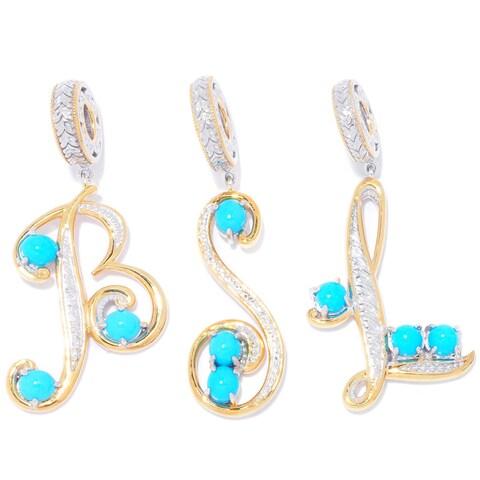 Michael Valitutti Palladium Silver Sleeping Beauty Turquoise Initial Drop Charm