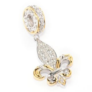 Michael Valitutti Palladium Silver Paris White Topaz Fleur-de-lis Double-Sided Drop Charm