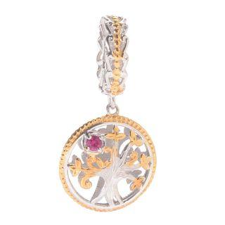 Michael Valitutti Palladium Silver Gemstone Tree of Life Slide-on Charm