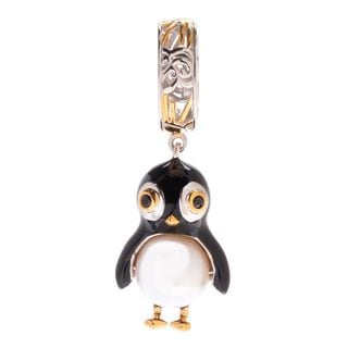 Michael Valitutti Palladium Silver Freshwater Cultured Pearl & Enamel Penguin Slide-on Charm