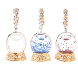 Michael Valitutti Palladium Silver Glass & Glitter Snow Globe Slide-on Charm