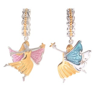 Michael Valitutti Palladium Silver Polished, Textured & Enameled Angel Slide-on Charm w/ Moving Wings