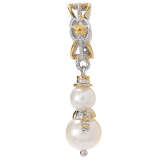 Michael Valitutti Palladium Silver White Freshwater Cultured Pearl Snowman Slide-on Charm