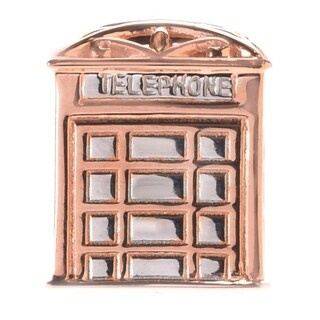 Michael Valitutti Palladium Silver Two-tone London Telephone Booth Square Shaped Slide-on Charm