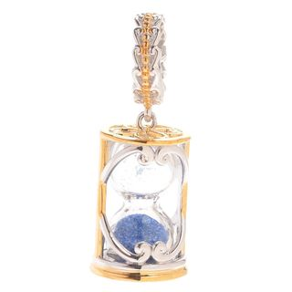 Michael Valitutti Palladium Silver Blue Sand Hourglass Shaped Slide-on Charm