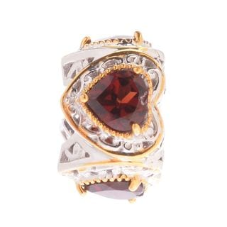 Michael Valitutti Palladium Silver Almandine Garnet Four-Heart Slide-on Charm