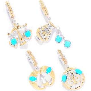 Michael Valitutti Palladium Silver Sleeping Beauty Turquoise Zodiac Sign Drop Charm