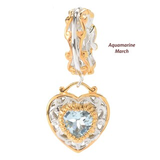 Michael Valitutti Palladium Silver Birthstone Heart Drop Charm