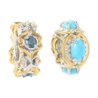 Michael Valitutti Palladium Silver Set of Two Sleeping Beauty Turquoise & London Blue Topaz Slide-on Charms