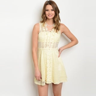 Shop The Trends Women's Sleeveless Skater Dress With Allover Crochet Lace Design