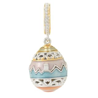 Michael Valitutti Palladium Silver Yellow Bamboo Coral Chick & Easter Egg Hinged Drop Charm