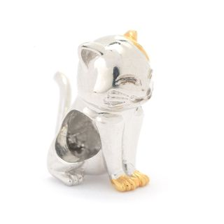 Michael Valitutti Palladium Silver Two-tone Cat Slide-on Charm w/ Moving Tail