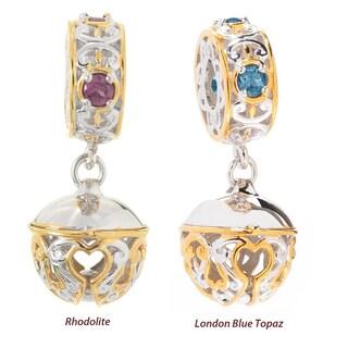 Michael Valitutti Palladium Silver Gemstone Engravable Cat Bell Drop Charm