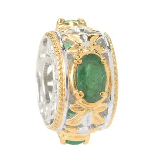 Michael Valitutti Palladium Silver Oval Emerald Three Stone Slide-on Charm
