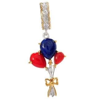 Michael Valitutti Palladium Silver Pear Shaped Red Bamboo Coral & Lapis Lazuli Balloon Drop Charm