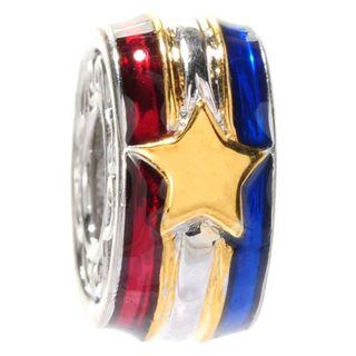 Michael Valitutti Palladium Silver Enameled Stars & Stripes Slide-on Charm