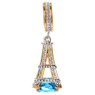 Michael Valitutti Palladium Silver Paris Swiss Blue Topaz Eiffel Tower Drop Charm