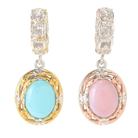 Michael Valitutti Palladium Silver Peruvian Blue/ Pink Opal Double-Sided Drop Charm
