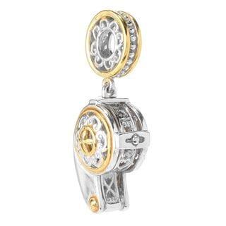 Michael Valitutti Palladium Silver Rock Crystal Jeweler's Loupe Drop Charm