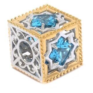 Michael Valitutti Palladium Silver Swiss Blue Topaz Scrollwork Cube Slide-on Charm