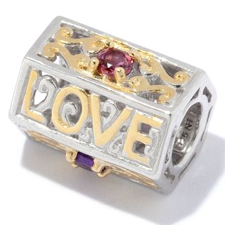 "Michael Valitutti Palladium Silver Multi Gemstone ""Live, Laugh, Love"" Barrel Slide-on Charm"