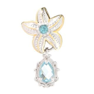 Michael Valitutti Palladium Silver Swiss Blue Topaz & Apatite Starfish Drop Charm