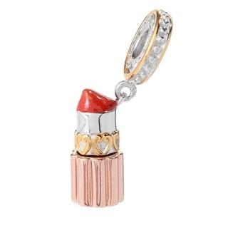 Michael Valitutti Palladium Silver Tri-Color & Enamel Lipstick Drop Charm