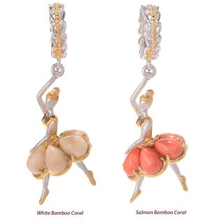 Michael Valitutti Palladium Silver White/Salmon Bamboo Coral Six-Stone Ballerina Drop Charm