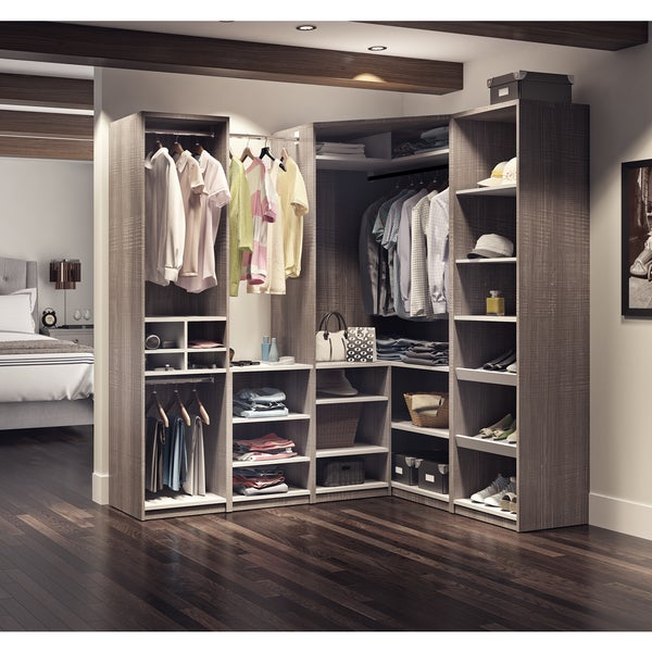 Walk in closet Grey Cielo By Bestar Classic Corner Walkin Closet Overstockcom Shop Cielo By Bestar Classic Corner Walkin Closet Free Shipping