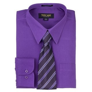 Tuscany Men's Dark Purple Regular-fit Long-sleeve Dress Shirt with Mystery Tie Set
