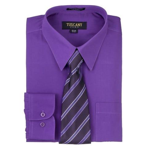Tuscany Men's Dark Purple Regular-fit Long-sleeve Dress Shirt with Mystery Tie Set