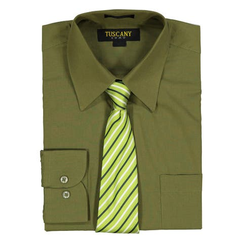 37183029c Men's Olive Regular-Fit Solid Long-sleeved Dress Shirt with Mystery Tie Set