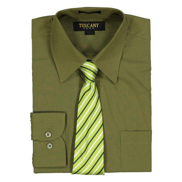 Mens Olive Regular-Fit Solid Long-sleeved Dress Shirt with Mystery Tie Set
